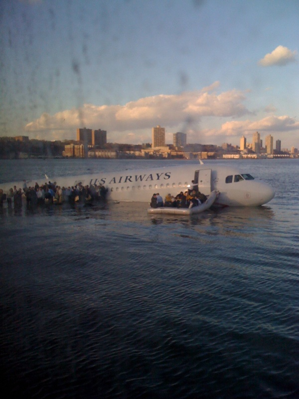 There's a plane in the Hudson. I'm on the ferry going to pick up the people. Crazy.