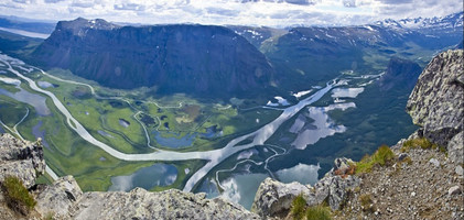 Rapa Valley in Sarek National Park, from the moutain Skierfe, Sweden.