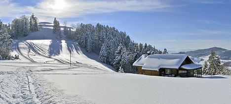 A winter landscape in Switzerland.