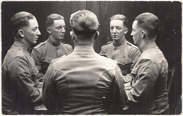 Unknown photographer Untitled [Man reflected in mirrors]. n.d. Photograph, gelatin silver print Collection SFMOMA, Gift of Gordon L. Bennett
